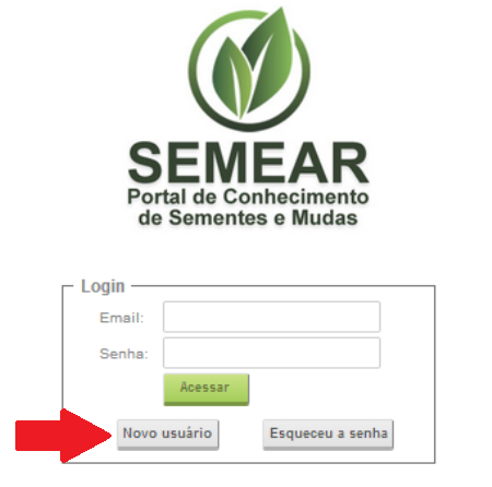Formulário de login com botão para cadastro de Novo Usuário.