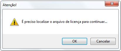 Mensagem de licença do software.