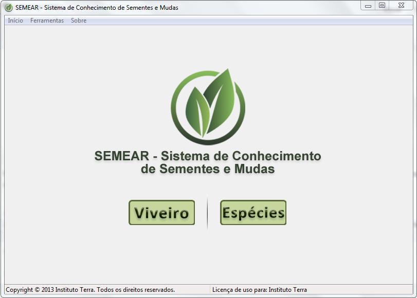 Tela principal do SEMEAR offline