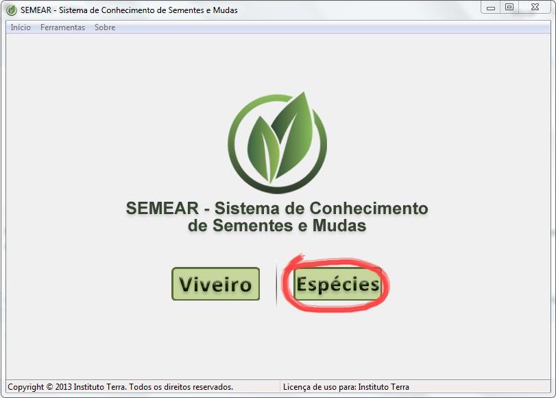 Tela inicial do SEMEAR offline