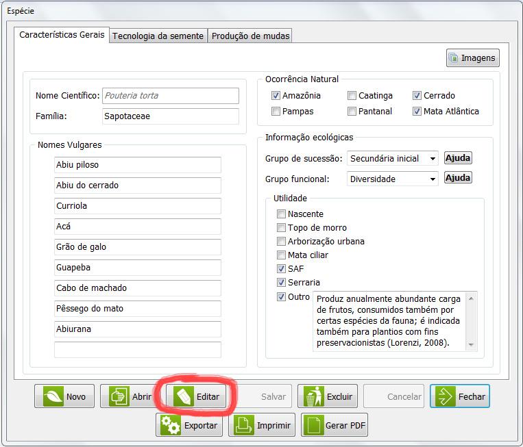 Botão Editar, permite editar o padrão técnico.