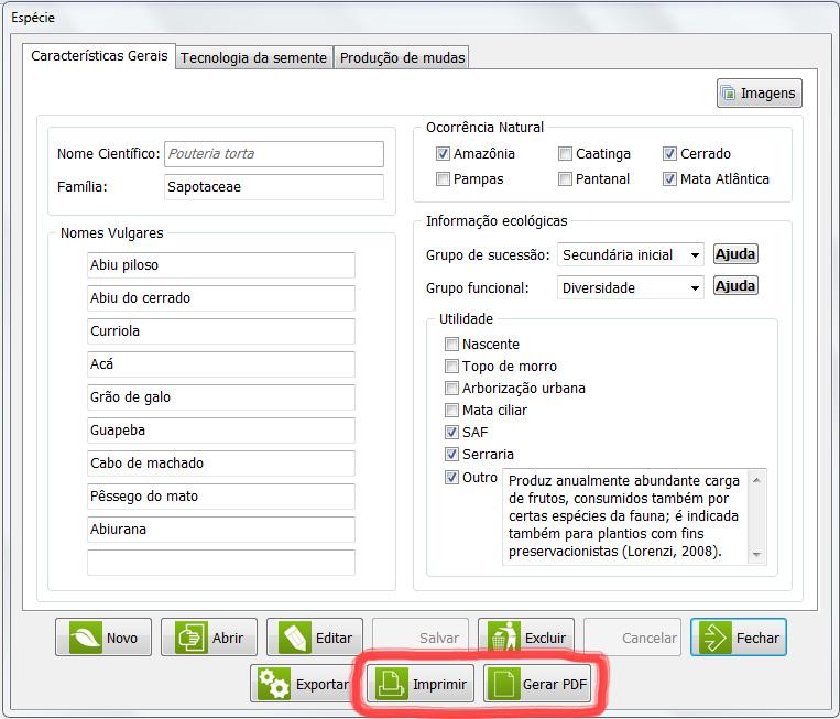 Botões Imprimir ou Gerar PDF